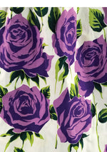 Striking Early 1960s Purple Roses Cotton Skirt- New!