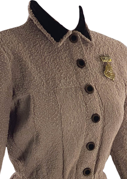 Vintage 1940s Brown Wool Knit Suit- New!
