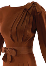 Late 1930s Russet Brown Crepe Dress - New!