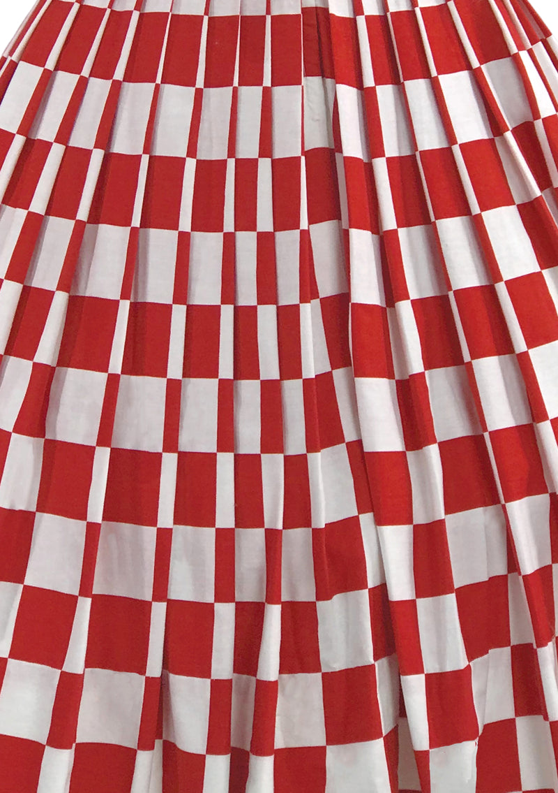 Vintage 1950s Red & White Checkerboard Print Dress- New!