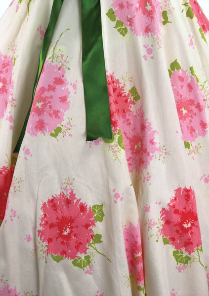 Original 1950s Large Pink Flowers Pique Cotton Dress - New