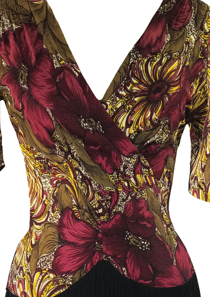Stunning Late 1930s Early 1940s Floral Jersey Dress - New!