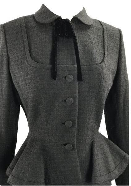 Vintage Couture 1950s Black Textured Wool Lilli Ann Suit - New!