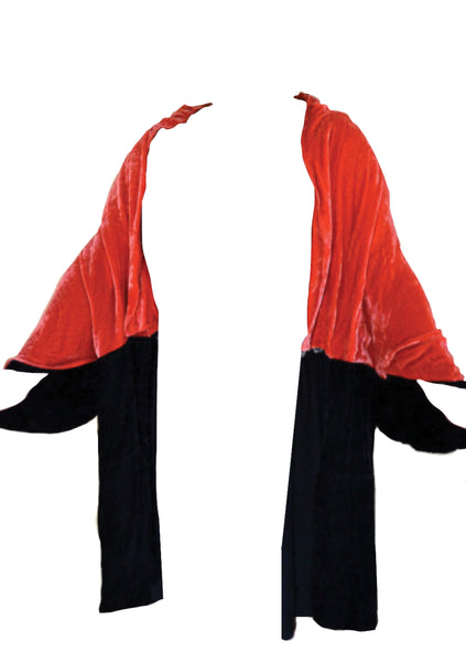 Original 1920s Watermelon & Black Velvet Cape Coat - New! (ON HOLD)