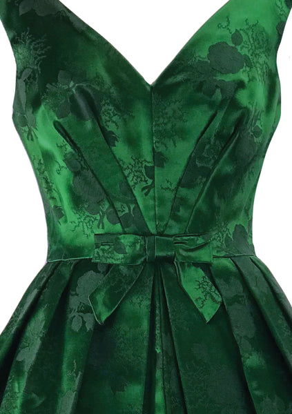Gorgeous Late 1950s Early 1960s Green Brocade Cocktail Dress- New!