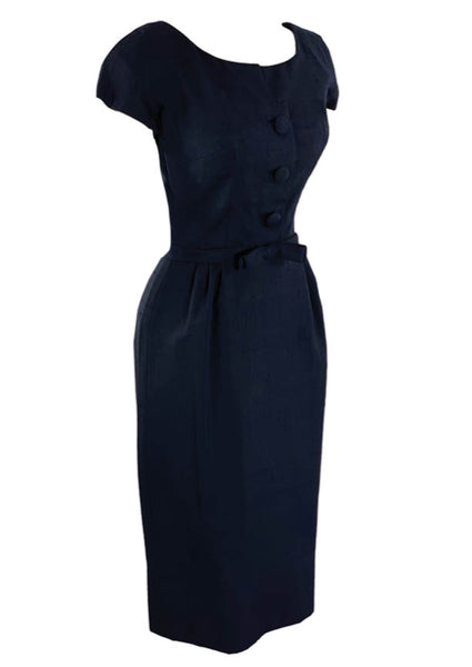 1950s Designer Navy Blue Silk Ensemble - New!
