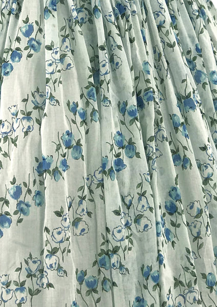 Vintage 1950s Blue & White Roses Print Dress- New!