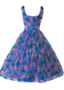 1950's Blue & Purple Floral Chiffon Party Dress- New!