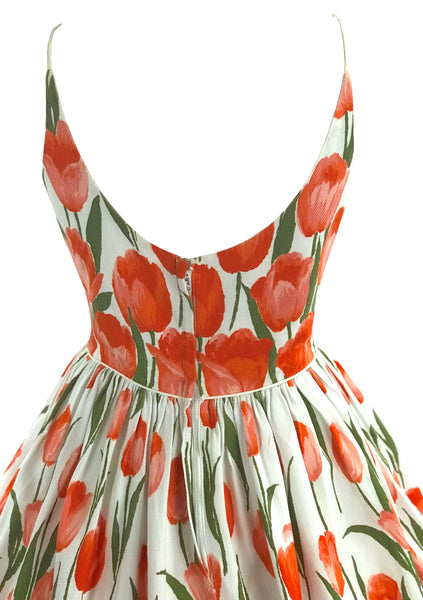 Vintage 1950s Gorgeous Orange Tulips Cotton Dress  - New!