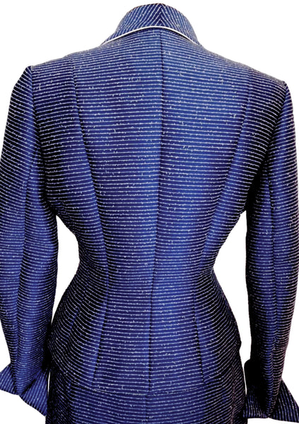 Wonderful Couture  1950s Blue & White Flecked Lilli Ann Suit- New!