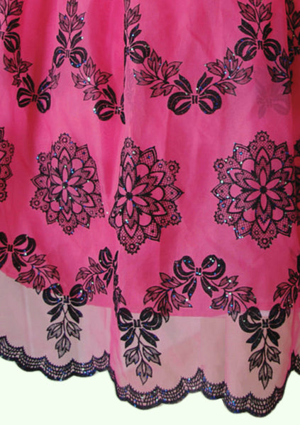 1950's Fuchsia Flocked Floral Chiffon Dress- New