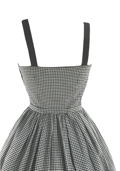 1950s B&W Gingham Cotton Sundress with 3D Applique  - New!