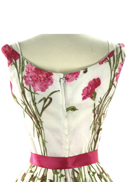 Vintage 1950s Magenta Carnations Pique Dress  - New! (on hold)