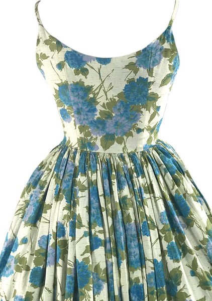 Gorgeous 1950s Blue Floral Cotton Sundress - New!