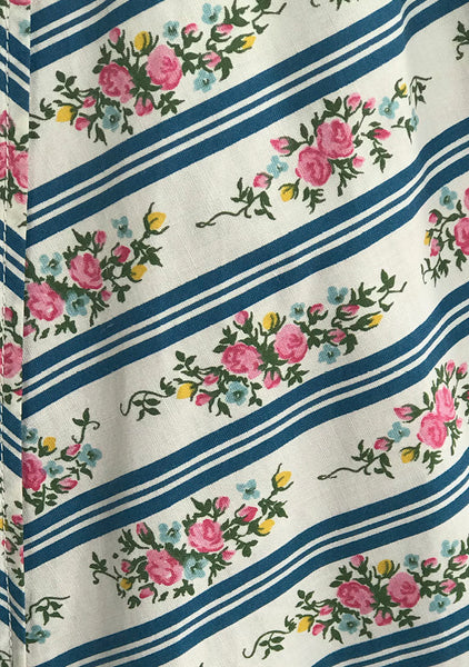 Vintage 1950s Pink Floral Cotton with Blue Stripes- New!