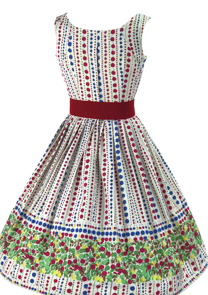 Vintage 1950s Cherries Cotton Border Print Dress - New!