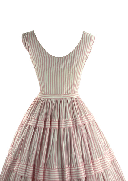 1950s Pink and White Candy Stripe Cotton Dress- New!