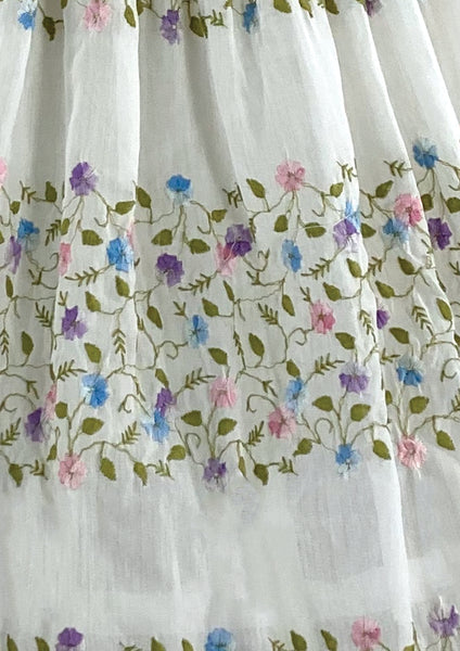 Lovely 1950s White Cotton Embroidered Dress- New!