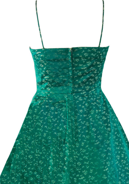 Vintage 1950s Emerald Green Jacquard Dress- New!