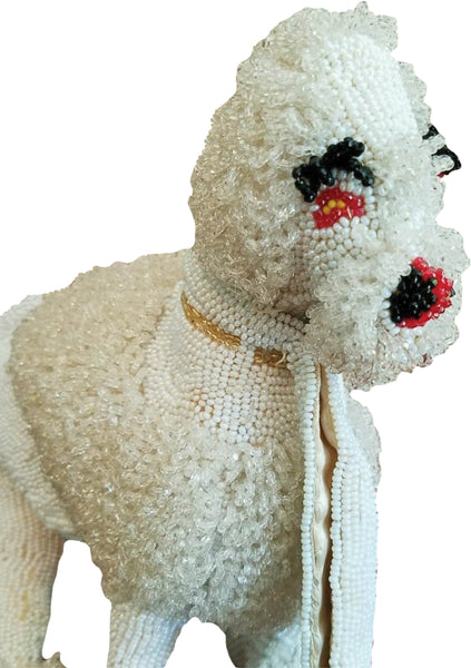 Rare 1950s White Beaded Poodle Figural Handbag - New!