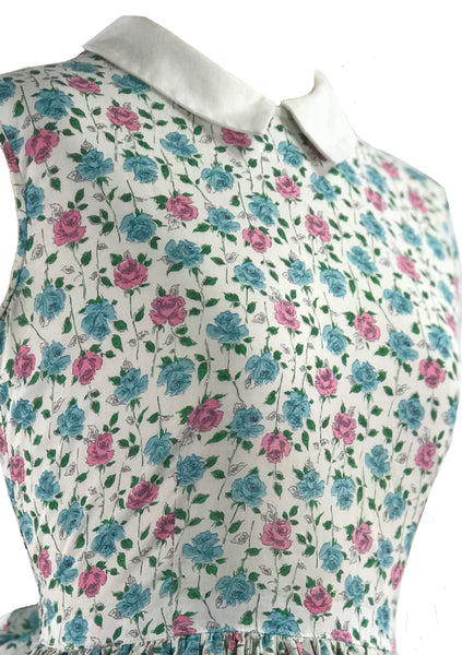 Vintage 1950s Pink and Blue Roses Floral Cotton Dress - New!