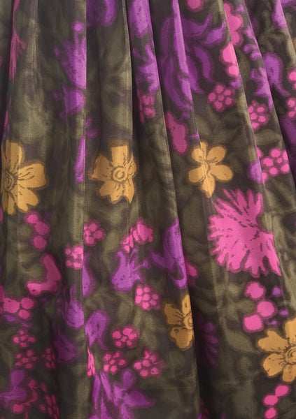 Vintage 1950s Chocolate, Purple & Pink Floral Dress  - New!