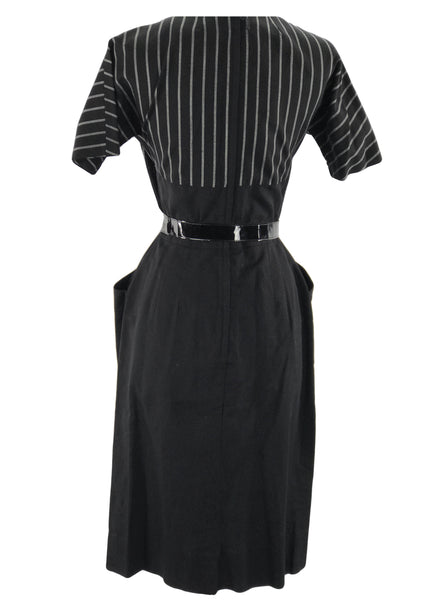 1950's - 1960s Mr. Mort Black & Ivory Cotton Dress - New!