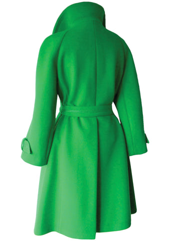 Iconic Late 1960s Apple Green Couture Space Age Coat - New!