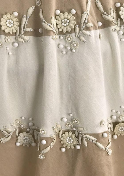 Lovely 1950s Beaded Ecru & Ivory Linen Applique Dress - New!