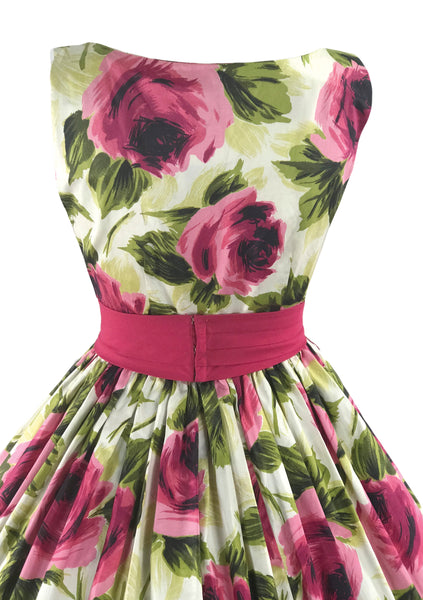 Vintage 1950s Large Magenta Roses Cotton Dress - New! (ON HOLD)