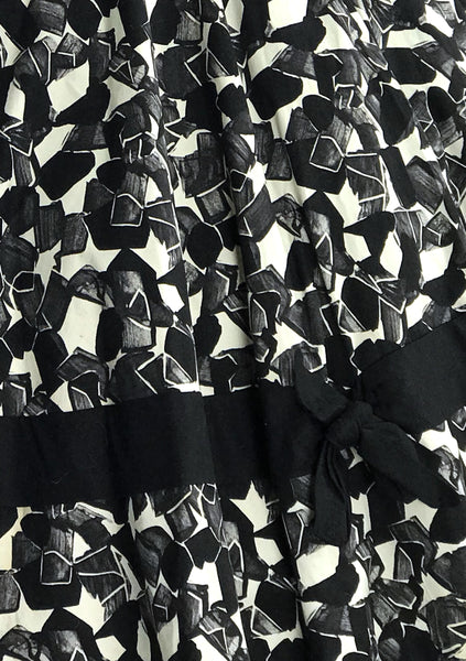 Vintage 1950s B&W Stain Glass Print Cotton Sundress - New!