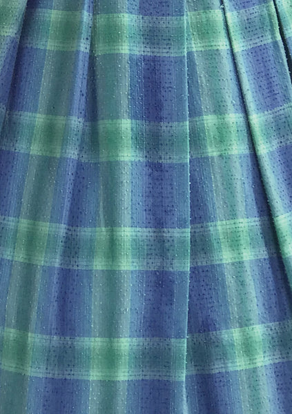 Late 1950s Blue & Green Plaid Cotton Sundress- New!