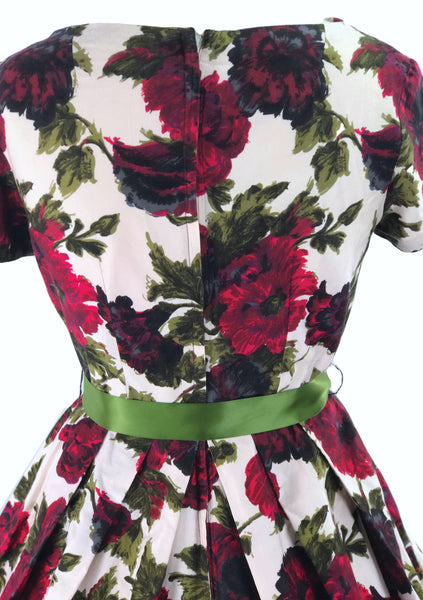 Original 1950s Vibrant Crimson Roses Cotton Dress - New!