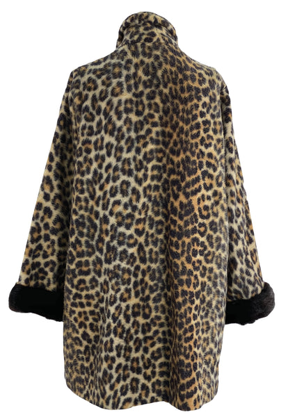 Vintage 1960s Faux Leopard Car Coat - New!