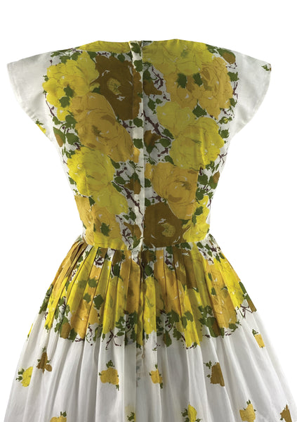 Late 1950s to Early 1960s Yellow Roses Cotton Dress - New!