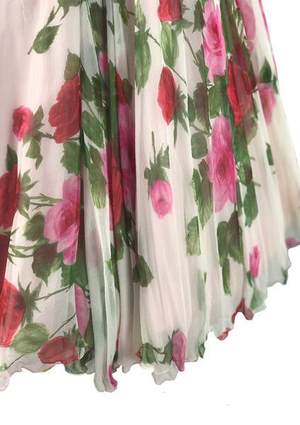 1950s Pink Roses Draped Chiffon Party Dress  - New! (ON HOLD)