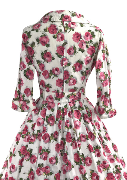 Vintage 1950s Deep Prink Rose Print Cotton Dress- New!