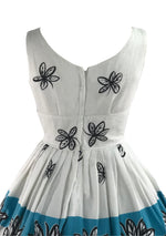 1950s Vicki Vaughn Pique Cotton Floral Border Dress - New!