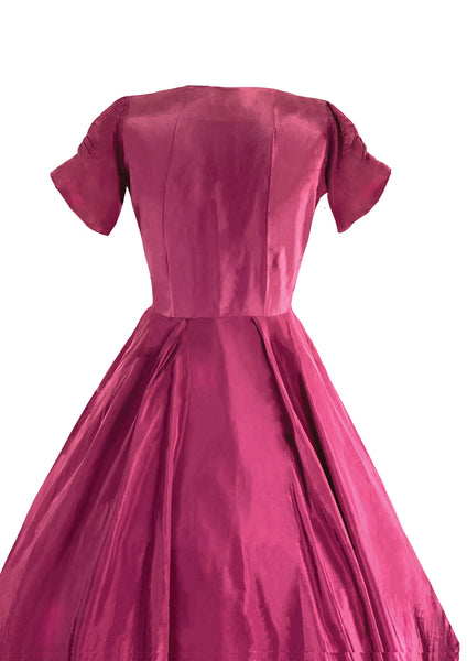 Vintage 1950s Cranberry Beaded Taffeta Party Dress - New (ON HOLD)