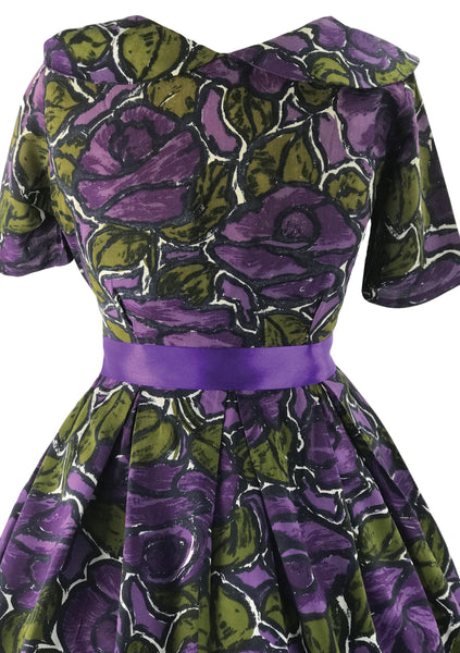 Vintage Late 1950s Purple Abstract Roses Cotton Dress - New!