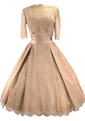 1950s Carlye Designer Mushroom Pink Lace Party Dress - New!