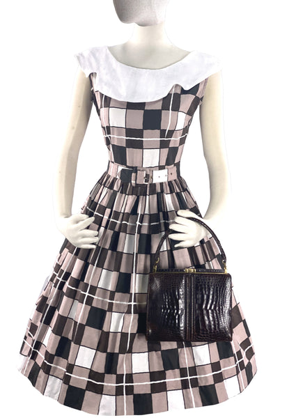 Early 1960s Brown Checkerboard Print Dress- New!