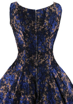 Late 1950s Early 1960s Royal Blue & Bronze Brocade Dress- New!