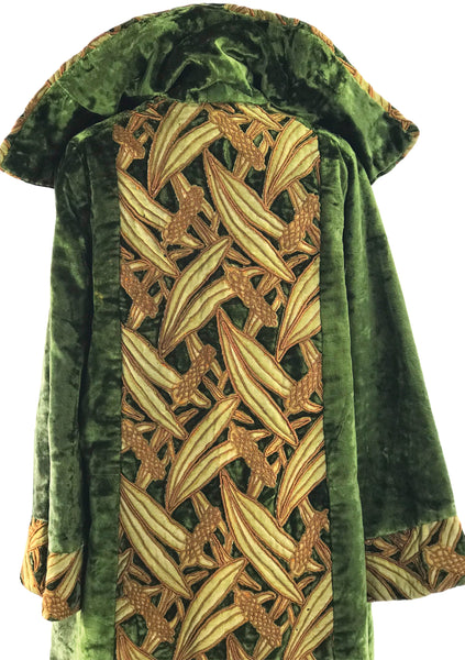 Early 1920s Green Silk Velvet Coatv with Lattice Panels - New!