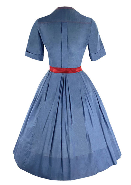Early 1960s Blue Chambray Cotton Shirtfront Dress- New!