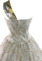 1950s Ivory, Silver and Gold Designer Cocktail Dress - New!