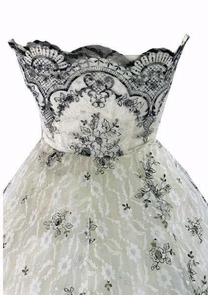 Vintage 1950s White & Black Lace & Tulle Party Dress - New!