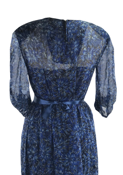 Vintage 1940s Blue Floral Chiffon Dress- New!
