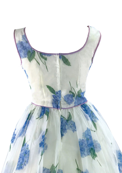 1950s Blue Hydrangea Chiffon Party Dress Ensemble - New!