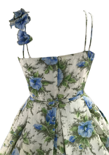 Vintage 1950s Blue Morning Glory Applique Silk Dress - New!